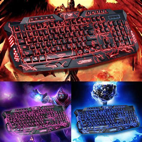 Keyboard Pc Led 3 colors illuminated led 114 key backlight usb wired pc gaming keyboard us ebay