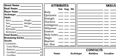 gurps npc character card template wordman s shadowrun sheets