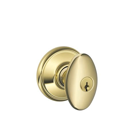 Schlage Door Knobs Lowes by Shop Schlage F Siena Lifetime Bright Brass Egg Keyed Entry