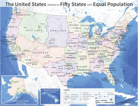 us map states population map imagines us divided into 50 equally populated states