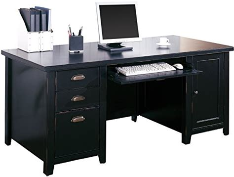 office desk delivered assembled kathy ireland home by martin tribeca loft black double
