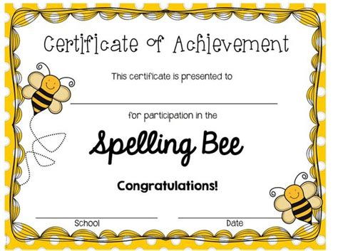 Spelling Bee Award Certificate Template spelling bee certificates printable invitation templates