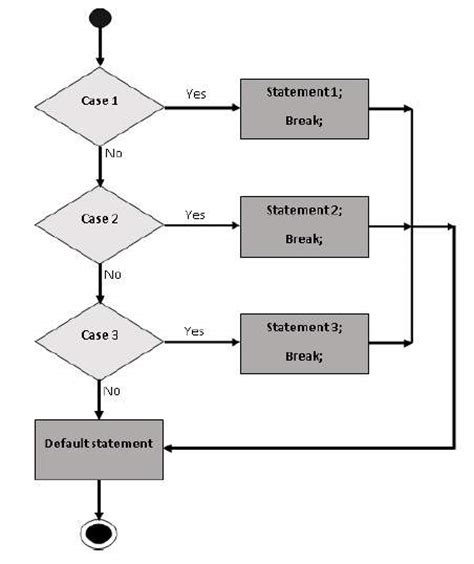 flowchart of switch in c flowchart for switch statement create a flowchart