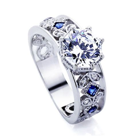 platinum plated sterling silver wedding engagement ring