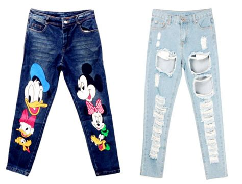 Top N Pant Mickey blackfive ripped ripped denim micky mouse shirt donald duck minnie
