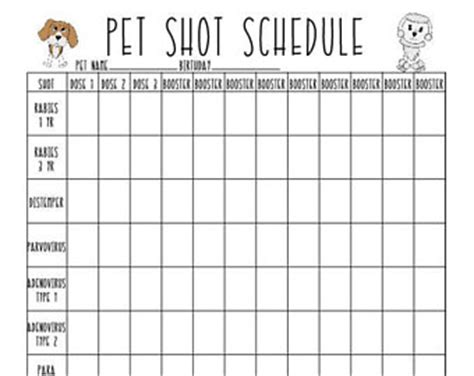 puppy vaccination schedule pdf printable record etsy