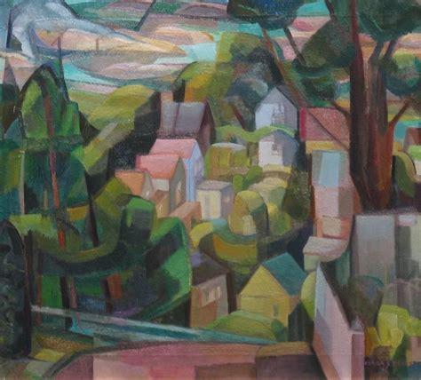 cubist landscape paintings clara deike clara deike 1942 cubist landscape for sale