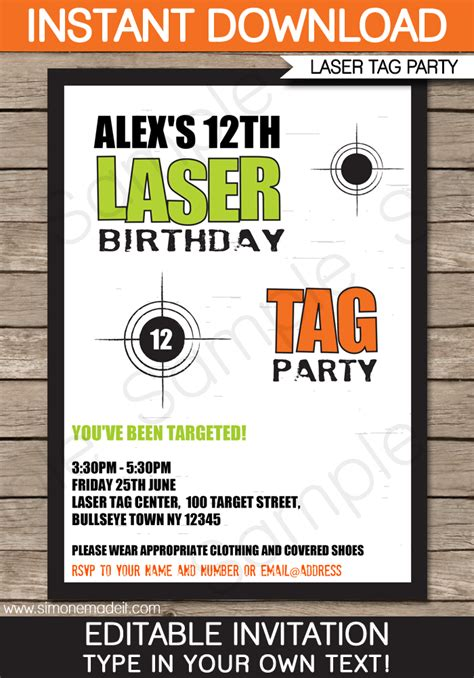 printable birthday invitations laser tag laser tag invitation template laser tag invitations