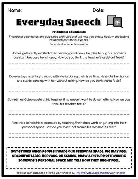 Boundaries Therapy Worksheets by Friendship Boundaries Everyday Speech Everyday Speech