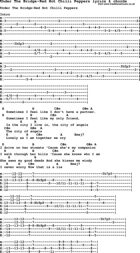 under the bridge chords by red hot chili peppers melody love song lyrics for under the bridge red hot chilli