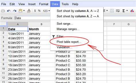Table Spreadsheet by Spreadsheets Pivot Tables