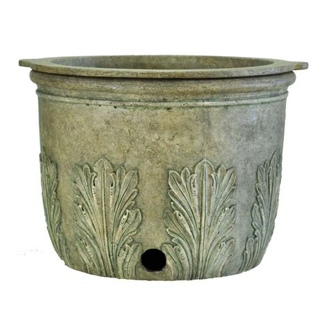 pots and planters mpg 22 in round granite cast stone hose pot and planter