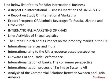 Mba International Business Project Reports Free by Project Report Titles For Mba In International Business