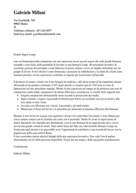 lettere di presentazione lavoro esempio lettera di presentazione farmacista modello