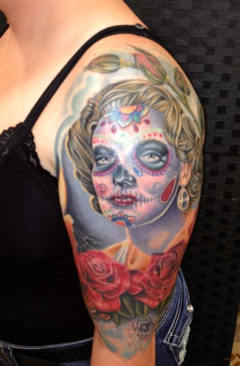 olde line tattoo my custom hayworth day of the dead work done by abel
