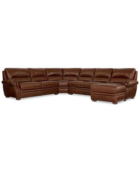 macys leather sectional sofa royce leather 4 piece chaise sectional sofa sectional
