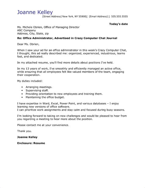 cover letter for an office office administrator cover letter sle