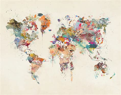 The World In Watercolor by World Map Watercolor Painting By Bri B