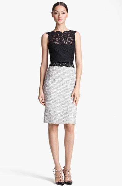 valentino belted lace tweed sheath dress in white ivory