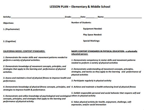lesson plan template physical education sle physical education lesson plan 14 exles format