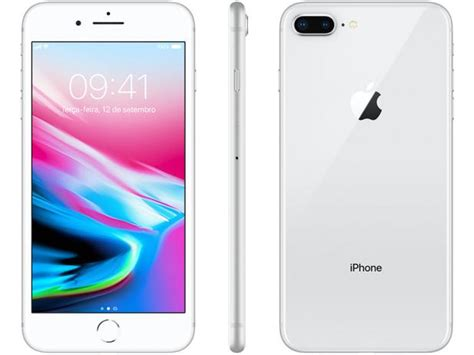 iphone 8 plus apple 64gb prata 4g tela 5 5 retina c 226 m 12mp selfie 7mp ios 11 proc chip a11
