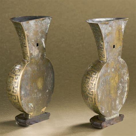 Wall Mount Vase by A Pair Of Imperial Inscribed Bronze Wall Mount Vases