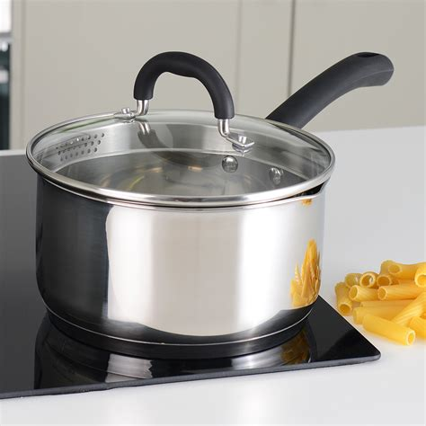 Gourmet Store 3l procook stainless steel strain pour saucepan with lid induction pans 20cm 3 3l ebay