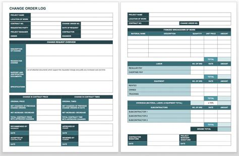 change log template project management change log template template sle resume service form