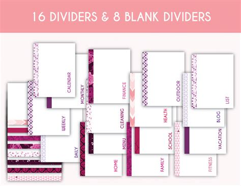 printable planner dividers 200 printable planner pages planner addiction