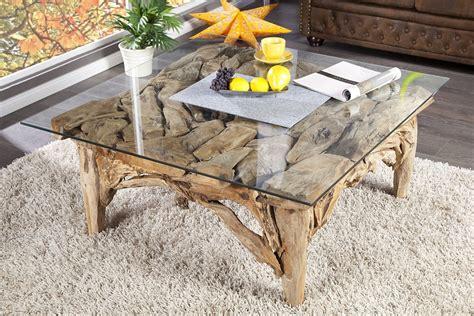 table basse design en bois flott 233 avec plateau en verre