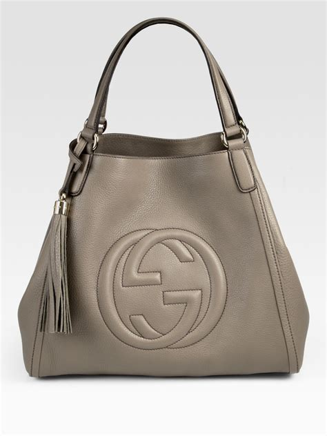 gucci soho bag gucci soho medium shoulder bag in gray grey lyst