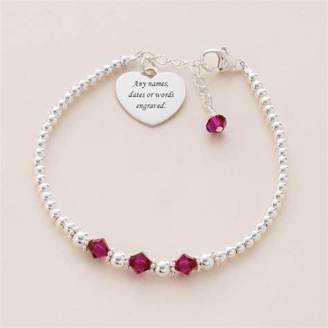 co bead bracelet engraved silver bead bracelet with birthstones charming