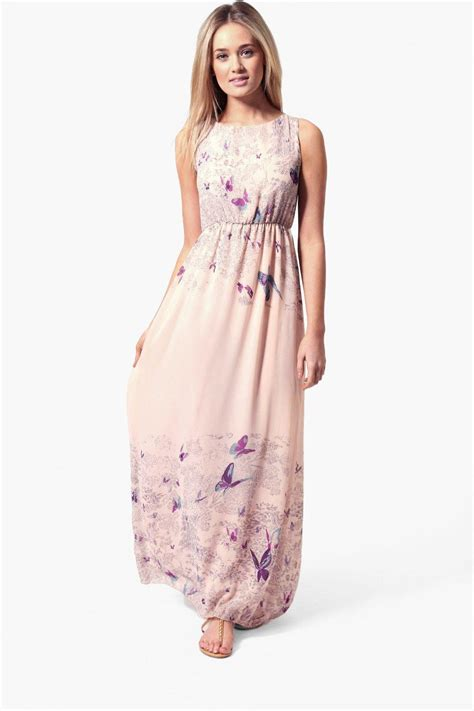 Butterfly Maxy Dress Hq tie back border print butterfly maxi dress at