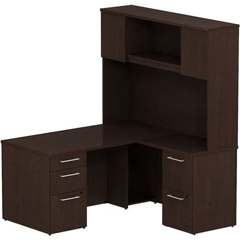 Bush Desk With Hutch Bush Business 300 Series 60 Quot L Shaped Desk With Hutch In Mocha Cherry 300s052mr