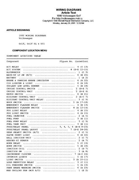 download car manuals 1990 volkswagen gti engine control vw golf gl gti 1990 wiring diagrams service manual