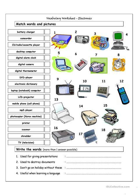 vocabulary matching worksheet electronics worksheet
