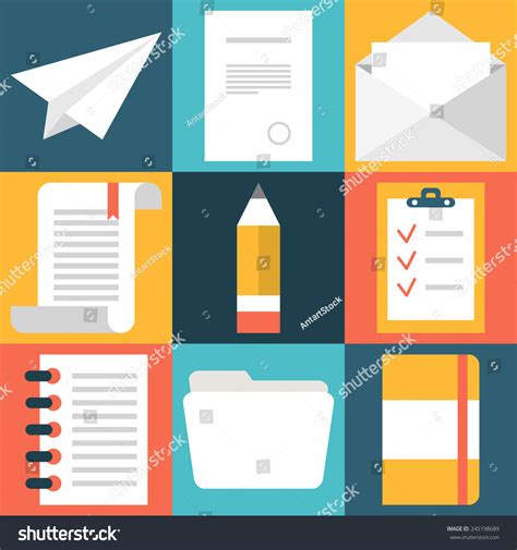 design html file online set flat design document icons paper stock vector
