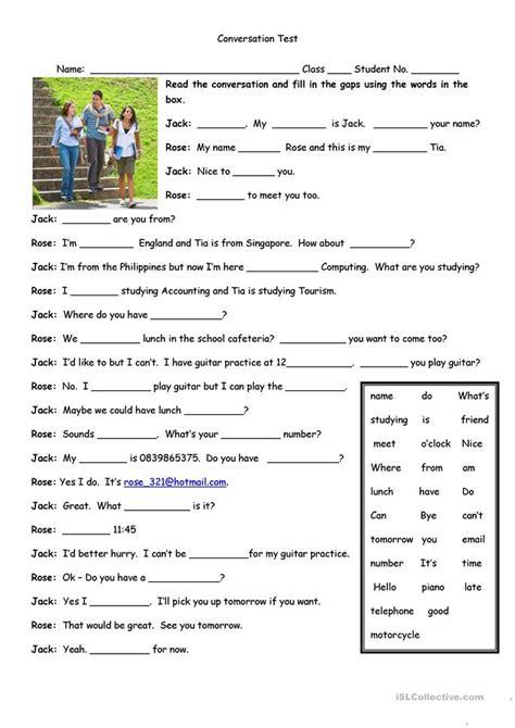 free printable english worksheets on dialogue conversation test worksheet free esl printable