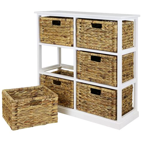 White Wicker Storage Drawers by Hartleys 2x3 White Wood Home Storage Unit 6 Wicker Drawer