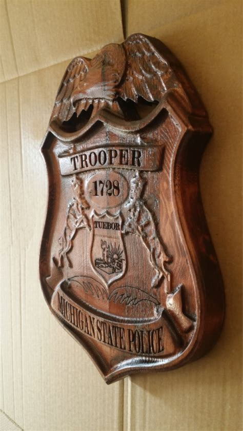 Painting V Carved Signs by 3d V Carved Personalized Michigan State Trooper