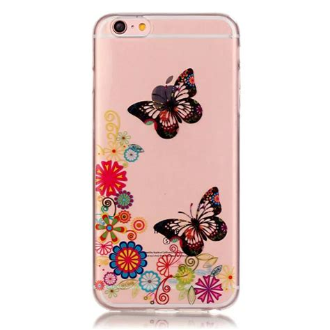 ultra slim transparent flower pattern back cover skin for iphone 6 6s plus ebay