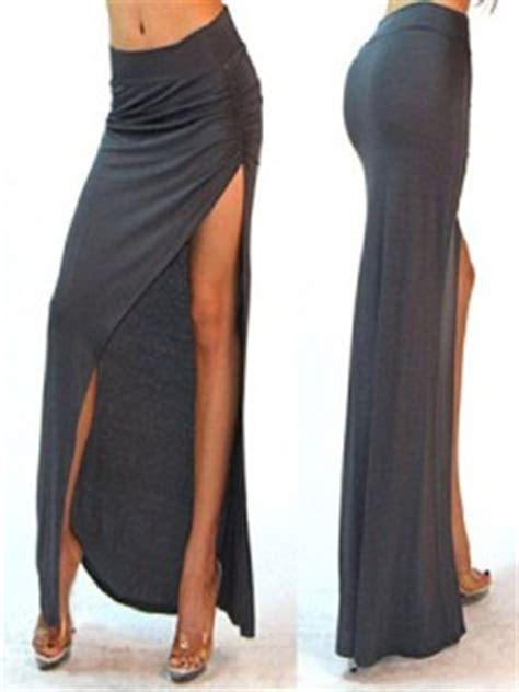gray minimalist thigh high slit ruched side split