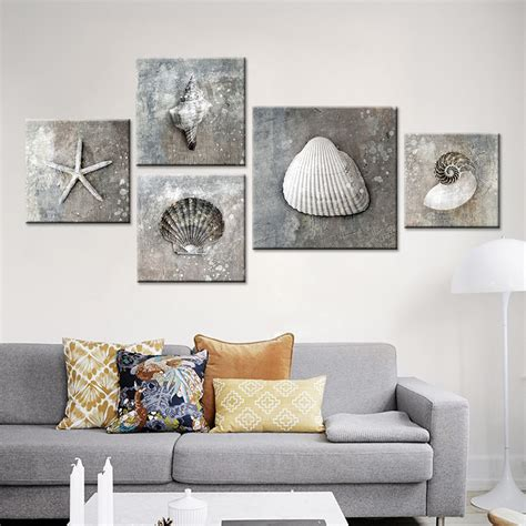 Home Interior And Gifts Large Painting With Gray Frame | no frame grey vintage canvas art sea shell photo a4 prints