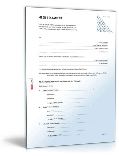 Was Kostet Testament by Vorlagen Paket Testamente Vorlagen Zum