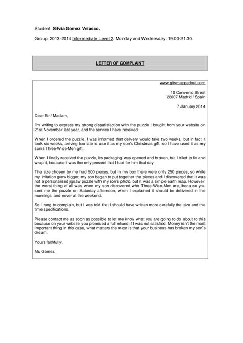 Complaint Letter Sle For Class 10 Letters Of Complaint