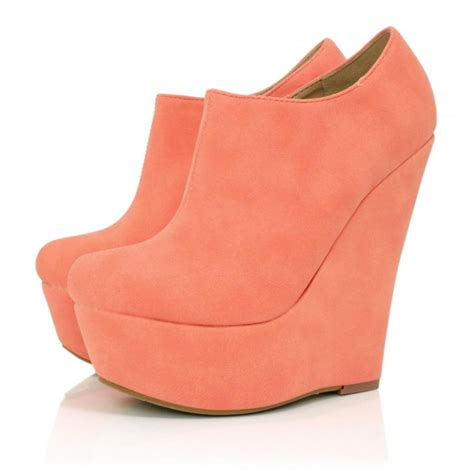 wedge heel platform ankle boots coral suede