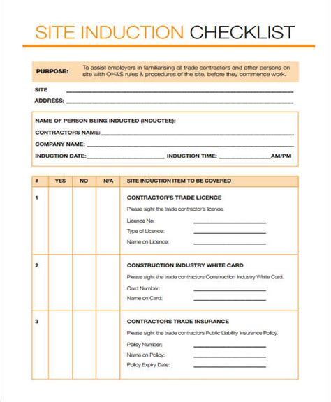 induction document template induction checklist templates 11 free word pdf format
