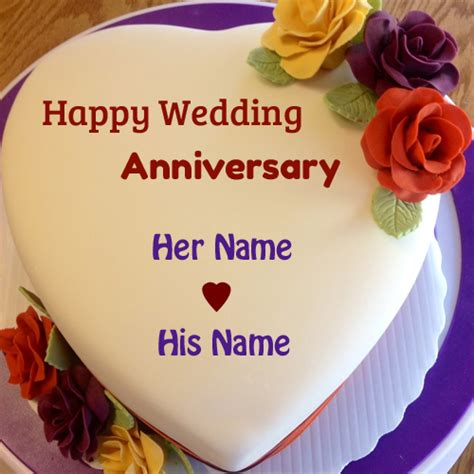 Wedding Anniversary Wishes Card With Name Edit by Happy Anniversary Cake Images With Name Editor Wallpaper