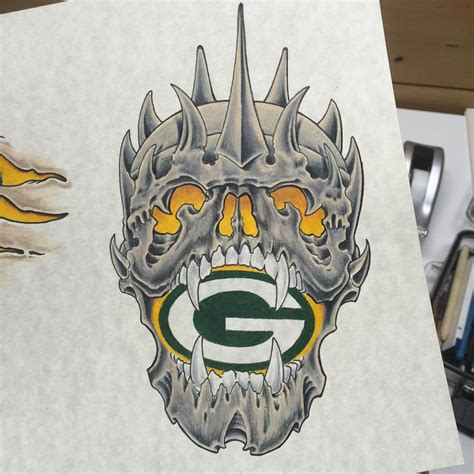 green bay tattoos green bay packer skull i d to do this as a