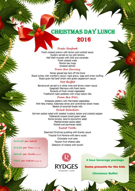 christmas new year eve 2016 lunch dinner options from